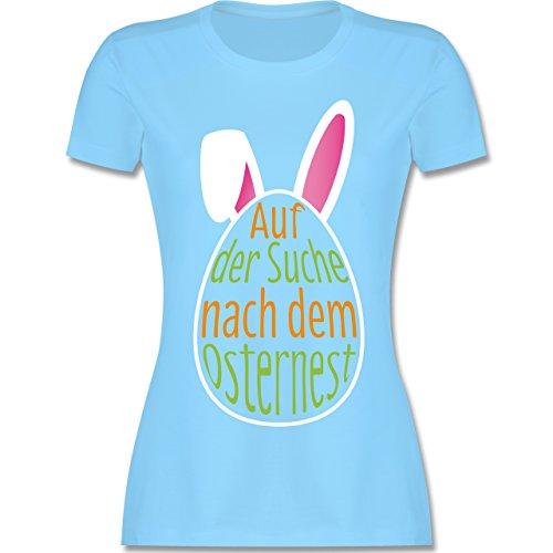 Ostern - Auf der Suche nach dem Osternest - tailliertes Premium T-Shirt mit Rundhalsausschnitt für Damen Hellblau