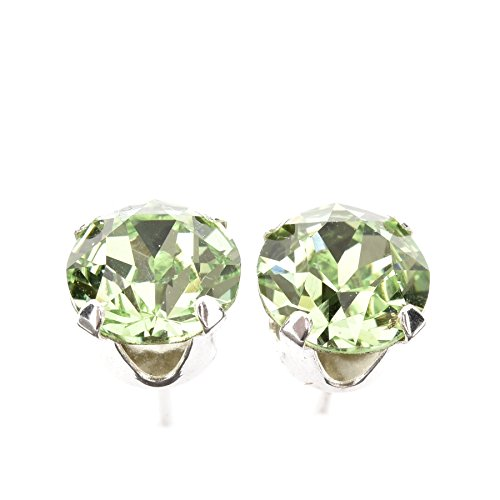 Sparkling 925 Sterling Silver Stud Earrings set with Peridot green Swarovski Crystal Stones. Gift Box. Made in England. Beautiful jewellery for very special people.