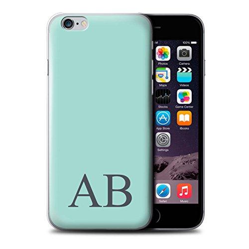 Personalisiert Pastell Monogramm Hülle für Apple iPhone 6 / Korallen Design / Initiale/Name/Text Schutzhülle/Case/Etui Türkis
