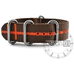 Buran01.com Zulu NATO Watch Strap Nylon Strong Brown/Orange Stripes 20 mm Watch Strap