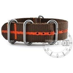 Buran01.com Zulu NATO Watch Strap Nylon Strong Brown/Orange Stripes 20mm Watch Strap