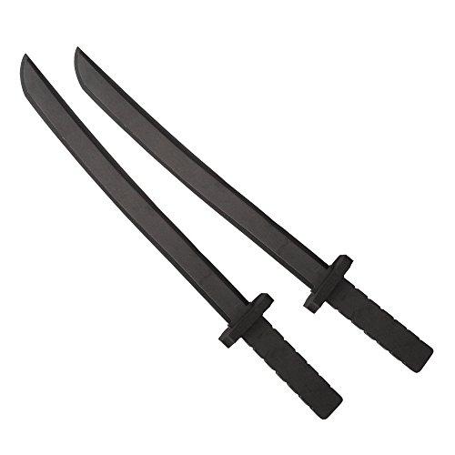 Katara 1771 - Schwarze Schaumstoffschwerter Set (2 Stück), Ninja Kostüm Verkleidung - Ungefährliches Accesoire (55 cm)