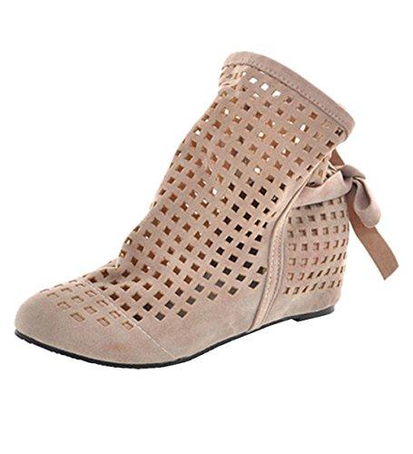 YE Damen Flach Sommer Stiefeletten mit Schnürung Cut Out Sandalen Bequem Schuhe