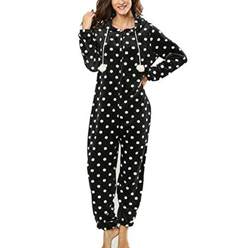 Basic Jumpsuits Ganzkörperanzug Einteiler One Piece Schlafanzug Overall Damen Jumpsuit Kuschelig und warm (Peanut Snoopy Schlafanzug)