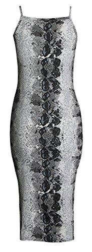 Fast Fashion - Strappy Imprimé Bodycon Longue Cami Robe Stretchy Midi - Femmes Imprimé Serpent