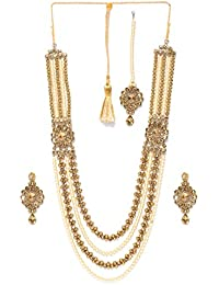 Priyaasi Off-White & Antique Gold-Toned Beaded Layered Jewellery Set