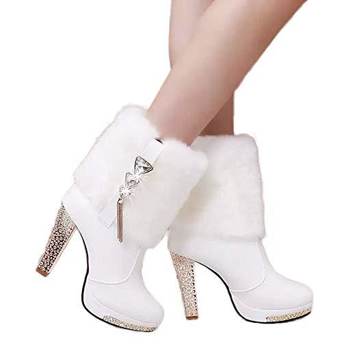 Stiefel Damen Boots High Heels Schuhe Tube Leder Stiefel Frauen Wedge Strass Mitte Stiefeletten Warm halten Freizeitschuhe ABsoar