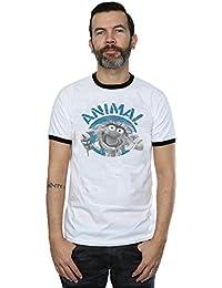 Muppets Homme Animal Face Ringer T-Shirt Medium Blanc noir