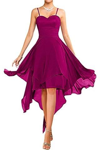 Victory Bridal Modisch Traegerlos Abendkleider Kurz Chiffon Sommerkleider Tanzkleider Brautjungfernkleider-36