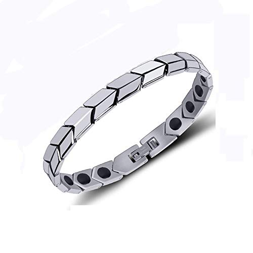 WJSW Titan Stahl Magnet Armband Gesundheit Energie Armband Erholung und Linderung von Schmerzen Müdigkeit Muskelverspannungen Verbessern Sie die Energiebilanz und den Schlaf Einstellbares -