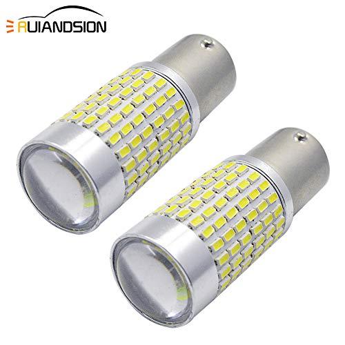 Ruiandsion Lot de 2 ampoules LED BAU15S Super lumineux Blanc 12V-24V 3014 144SMD LED Clignotants arrière