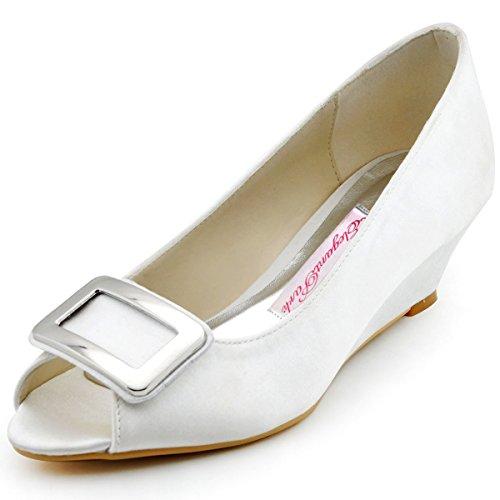 Elegantpark, Scarpe peep toe donna, Bianco (bianco), 34