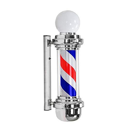 kodnn LED 68cm Poste de Barbero Luminoso,Giratorio Esclarecedor para Peluquería Rayas Impermeable y Blanco Red&Blue