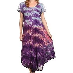 Sakkas 16802 - Casquillo bordado Kaylaye largo teñido anudado de Ombre de la manga vestido caftán / Cover Up - púrpura - OS