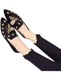 Jushee Frauen Damen Chic Velvet Backless Slip auf Loafers Flache Schuhe Stickerei Schwarz Biene Handmade Mule Pantoffeln 37 RwH9Qp