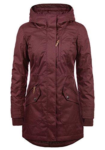 DESIRES Bella Damen Übergangsmantel Parka Jacke mit Kapuze, Größe:L, Farbe:Wine Red (0985) (Mantel Damen Wintermantel)