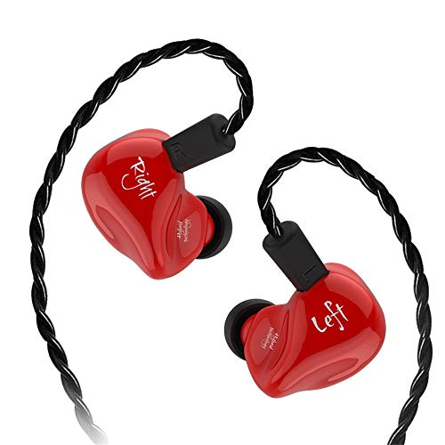 Wokee in-Ear-Kopfhörer für Den Sport,Universal-Mikrofon KZ ZS4 Hybrid In Ohr HiFi DJ Laufsport Ohne Mic Kopfhörer Headset Ohrhörer Kopfhörer (Rot)