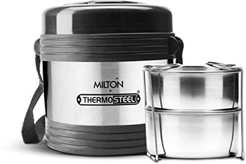 Milton Thermo Steel Legend 2,Office Tiffin 2 Containers Lunch Box Silver (460 ml)
