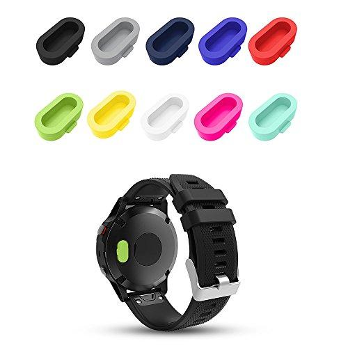 Für Garmin Fenix 5/5S/5X Ladegerät Port Staubstecker Protector, iFeeker 10pcs Weiches Silikon Ladegerät Port Protector Anti-Staubstecker Caps Case für Garmin Fenix 5/5S/5X Smart Watch Port Protector