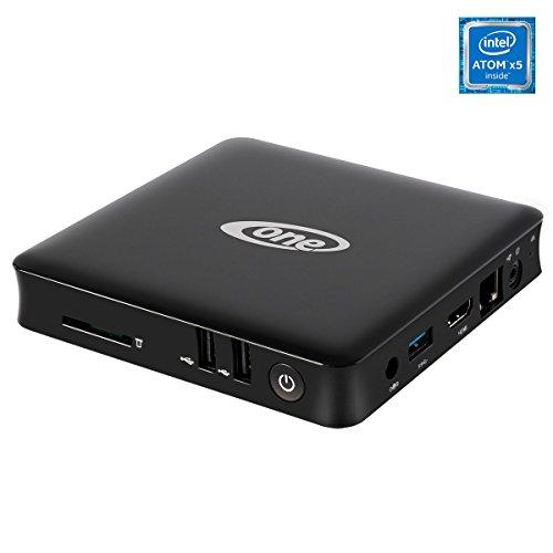 ONE Xcellent 4K WIN10 Box · lautloser schwarzer Silent Mini PC ohne Lüfter· Intel Quad Core (4 x 1,84 GHz) · 64GB SSD · 4 GB RAM · WLAN · Bluetooth · HDMI · USB3.0 · Windows 10 Home · Cardreader · USFF Desktop Computer