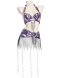 Rongg Profesional Disfraces de Danza del Vientre para Mujeres Actuación Conjunto de Baile Conjunto Hecho a Mano Sujetador y Faja Cuentas de Flecos Largos, Purple, S