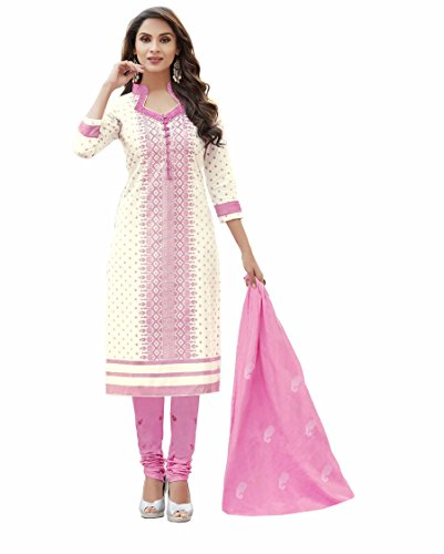 Miraan Women\'s Cotton Unstitched Printed Churidar Suit Dress Material(SAN8002_Pink_Free Size)