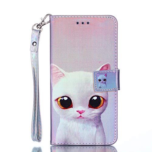 Cozy Hut Samsung Galaxy J1 Mini Hülle Blau Cat, [Premium Leder] [Standfunktion] [Kartenfach] [Magnetverschluss] Schlanke Leder Brieftasche für Samsung Galaxy J1 Mini - weiße Katze