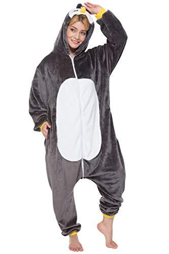 corimori 1852 Pablo der Pinguin Damen Herren Onesie Jumpsuit Anzug Einteiler Kostüm Verkleidung Gr. 180 - 190cm, Schwarz (Niedliche Tiere Weihnachten Kostüm)