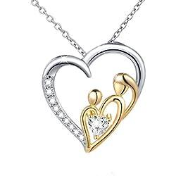 DAOCHONG Thanksgiving Geschenk S925 Sterling Silber Mütter Halskette Ich Liebe Dich Mom Love Heart Anhänger Halskette mit Herz Zirkonia