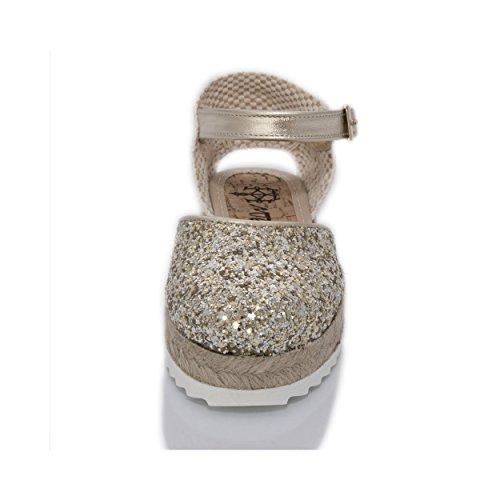 MTBALI - Espadrilles pour fille - Modèle Amanda Champagne silver