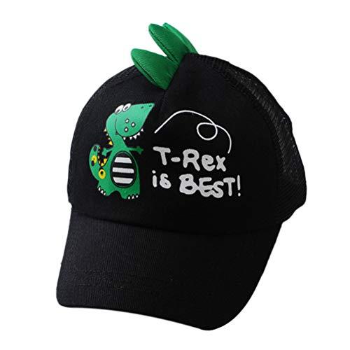 BIGBOBA Süße Baby Cartoon Dinosaurier Muster Schirmmütze Sommer Kindermütze Schwarz Schiebermütze Sonnenhut - Pony Plaid Hut