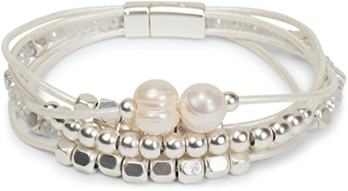 styleBREAKER Armband mit feinen Bändern, Perlen und Schmucksteine, Magnetverschluss, Armschmuck, Schmuck, Damen 05040134, Farbe:Weiß