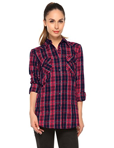 Plaid Check Flanell (Match Damen Langarmhemd Flanell Karierte Bluse Plaid Shirt #B003(B003 Checks#1,X-Large))