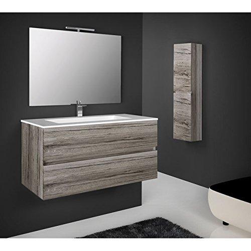 Mobile bagno sospeso legno 76x44x45h rovere grigio specchio lavabo