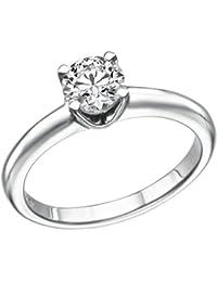 1CT. Diamant Rund Solitaire Engagement Ring in 18K Weiß Gold 4Zinken (F Farbe/VS2Clarity Enhanced)