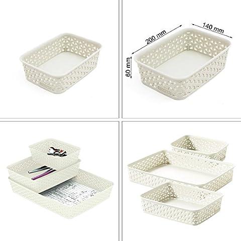 Korb für Badmöbel Küchenmöbel creme 1,6 Liter Wohnen Ordnungshelfer weiß