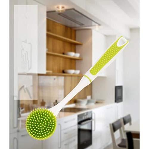 Home Helper Spülbürste antibakteriell Langer Griff Geschirrspüler Schrubber für die Reinigung antihaftbeschichteter Topf Pfanne Schüssel (grün) (Geschirrspüler Töpfe Und Pfannen)