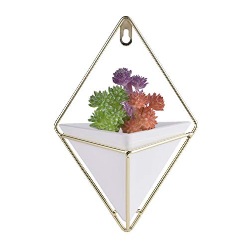 Yunt Hanging Wall Planter Geometric Hanging Planter Pot For Indoor Wall Decor Planter For Succulent Plants Air Plant Cacti Faux Artificial Plants