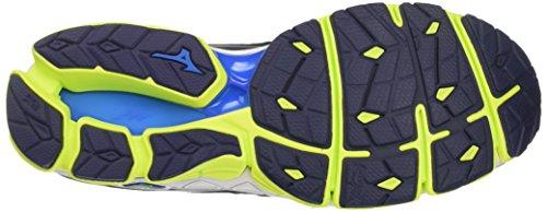 Mizuno Wave Sky, Chaussures de Running Homme Multicolore (Peacoatsilversafetyyellow)