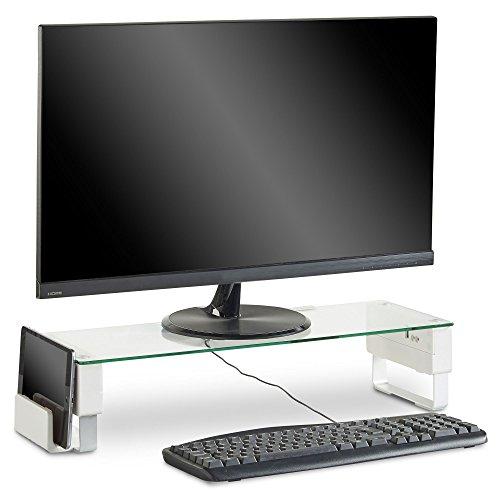 VonHaus einstellbare Monitor-Erhöhung- mit 3 USB-Ports, Kopfhörer- und Mikrofonbuchsen und Speicherplatz -