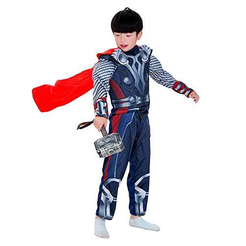 werty Cosplay Kleidung Thor: Ragnarök Cosplay Kostüm Muskel Kleidung 3D Digitaldruck Enge Weihnachten Halloween Kostüm Mit Mantel + Hammer - Thor Kostüm Mit Hammer