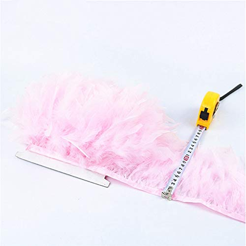 SHFives Fluffy Turkey Feathers Borte Ribbon 4-6 Zoll Feather for Crafts Trimmen Streifen für Kleid Rock Karneval Kostüme Federn, Pink, 10 - Pink Feather Rock Kostüm