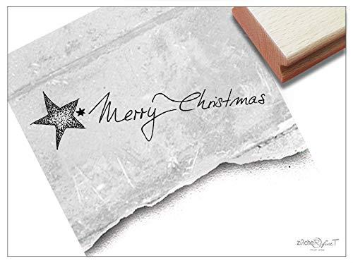Stempel Weihnachtsstempel MERRY CHRISTMAS mit Stern in Dotwork - Textstempel Weihnachten Karten Geschenkanhänger Geschenk Deko - zAcheR-fineT Christmas Star Servietten
