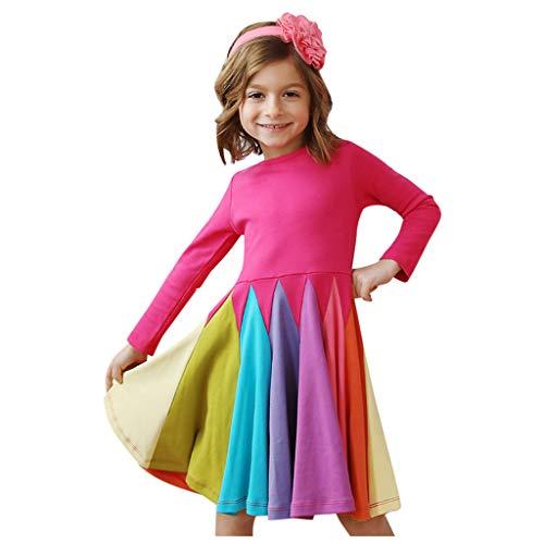 FEIXIANG Kleinkind Mädchen Outfits Langarm Kleid Rainbow Splice A Linie Skater Kleid Casual Dress Pageant Kleid Birthday Party Tutu Kleider