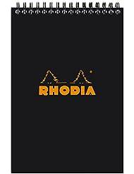 Rhodia - Bloc Spirale 80 Feuilles Détachables - Ligné - Format A5 (14.8 x 21 cm) - Noir