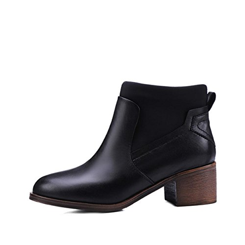 WSS chaussures à talon haut Tête de peau chaussons Jurchen étirer bottes d'épais avec les surtensions sauvages en bottes de cavalier Black