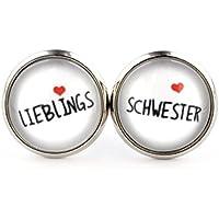 """SCHMUCKZUCKER Ohrstecker """"Lieblings-Schwester"""" weiss 14mm"""