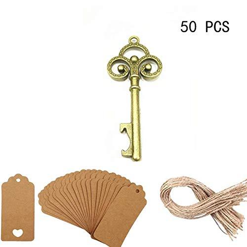 50 Pezzi Antico Ciano Skeleton Bottle Opener Key - apribottiglie d'epoca con Escort carta di modifica e Spago da favori di nozze...