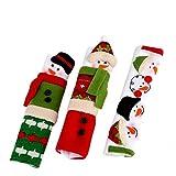 OldPAPA 3Pcs Couvercle de Poignée de Porte de Réfrigérateur Noël Bonhomme de Neige Protecteur de Porte pour Les Appareils de Cuisine de Four, B