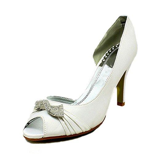 Mesdames Satin Ouvert Côté Tourbillon Broche En Diamant Blanc Chaussures De Mariage